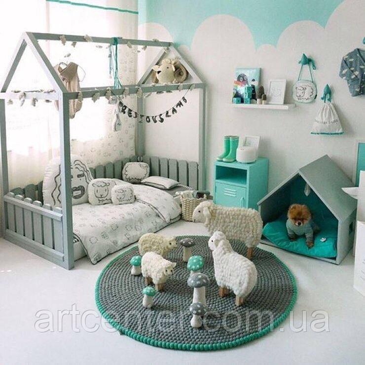 Кроватка-домик напольная, серого цвета