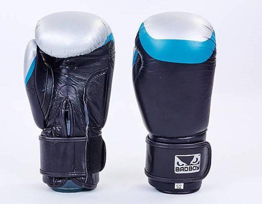 Рукавички боксерські шкіряні на липучці BAD BOY MA-5433-BK1 (р-р 10-12oz, чорний-синій-сірий)