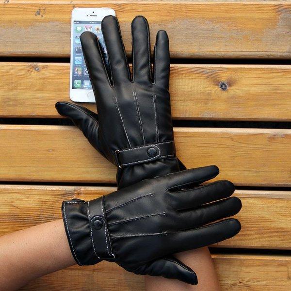 Утепленные перчатки для сенсорных экранов экозамш черный код 109