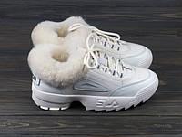 Зимние женские кроссовки молочные с мехом, фото 1