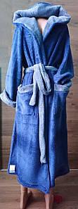 Мужской длинный халат с капюшоном на запах 46-56 р, мужские махровые халаты оптом от производителя