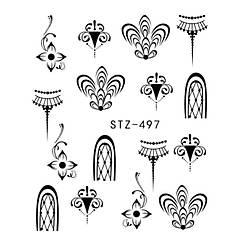 Наклейки для Ногтей Водные Черного Цвета Серия STZ 497, Пластина  6,5 х 5 см