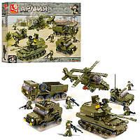 КонструкторАрмия,Военный на 996 деталей - Военные машины, танк, вертолет, джип, фигурки,SLUBAN M38-B0311