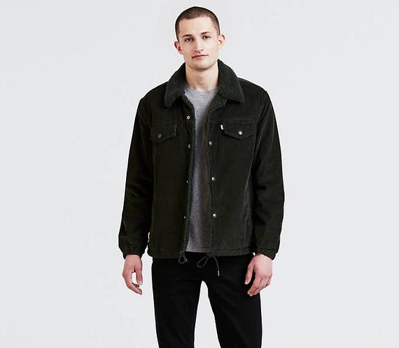 Зимняя вельветовая куртка Levis Trucker - Rosin Green