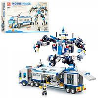 Конструктор 20016  полиция, 2в1 (трейлер, робот), фигурки, 521 дет, в кор-ке, 47,5-33-7см