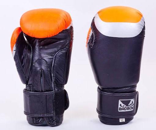 Рукавички боксерські шкіряні на липучці BAD BOY MA-5433-BK2 (р-р 10-12oz, чорний-сірий-помаранчевий)