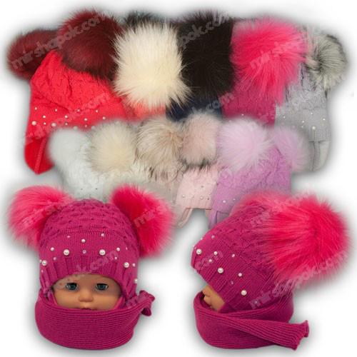 ОПТ Дитячий комплект - шапка і шарф для дівчинки, р. 44-46 (5шт/набір)
