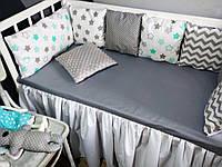 Набор №16 в детскую кроватку 120Х60 серо- мятный