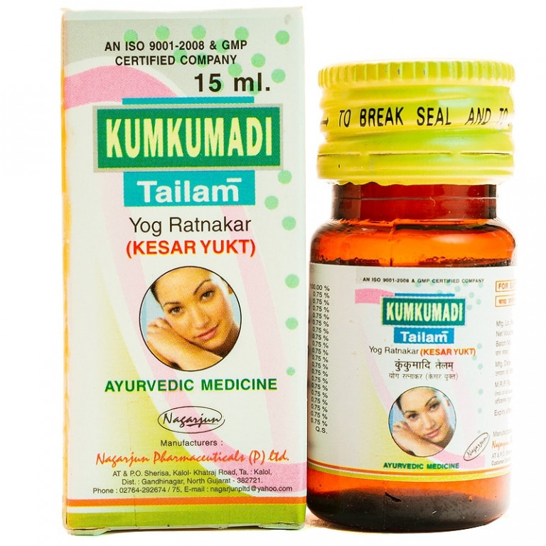 Кумкумади таил - лучшее омолаживающее аюрведическое масло для лица, шеи и области декольте,  15 мл