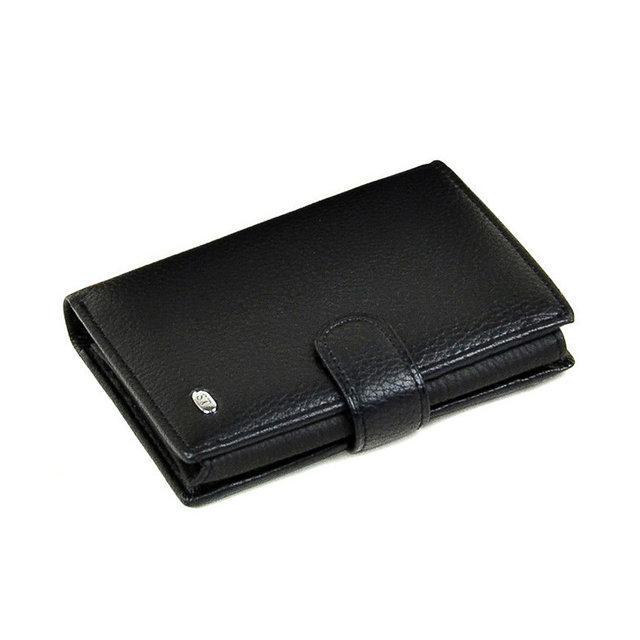 Чоловічий гаманець Sergio Torretti з натуральної шкіри чорний