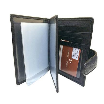 Чоловічий гаманець Sergio Torretti з натуральної шкіри чорний, фото 2