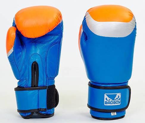 Рукавички боксерські шкіряні на липучці BAD BOY MA-5433-B2 (розмір 10-12oz, синій-сірий-помаранчевий)