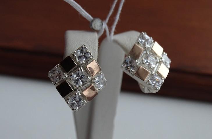 Серебряные серьги с золотыми пластинками