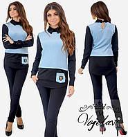 3e4b5aac008 Женский брючный костюм рубашка обманка из трикотажа с люрексом и украшением  на карманчике 42