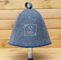 Шапка для сауны Комфорт серого цвета с синей окантовкой