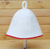 Шапка для сауны Комфорт белого цвета с красной окантовкой