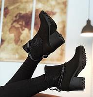 Ботинки женские зимние на каблуке с цепочкой Bogun (нубук/Double face), фото 1
