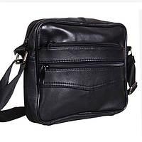 Кожаная мужская сумка SW 275 цвет черный барсетка через плечо натуральная кожа 20х17х6см