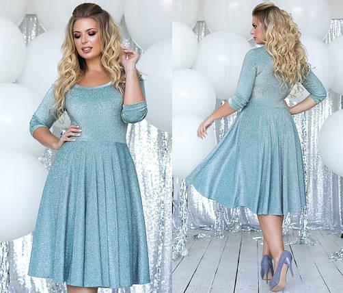 """Приталенное трикотажное миди-платье """"Letro"""" с люрексом и расклешенной юбкой (большие размеры), фото 2"""