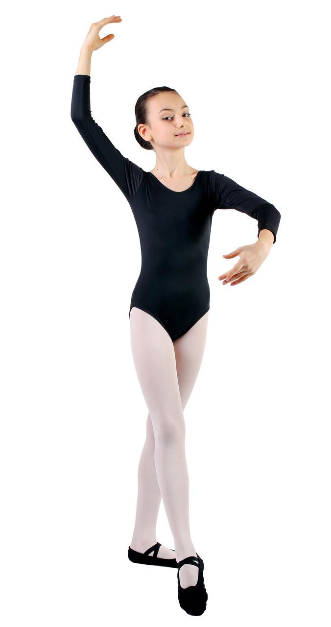 3e7206dc2bfc3 Купальник для танцев и гимнастики с длинным рукавом Rivage Line 6029  черный, бифлекс - «