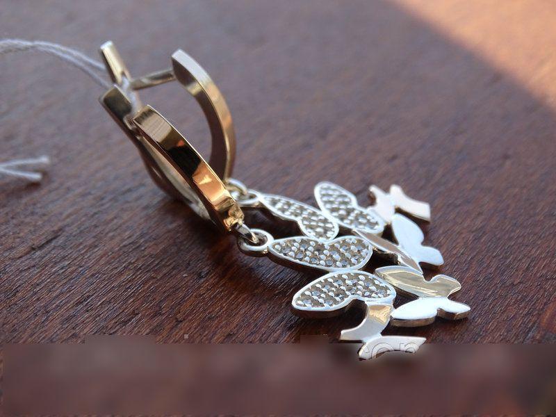 """Эксклюзив! Серебряные серьги - подвески с золотыми пластинками """"Бабочки"""""""