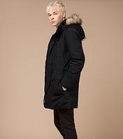 Молодежная стильная зимняя парка Braggart Youth черная с мехом топ реплика