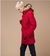 Молодежная стильная зимняя парка Braggart Youth красная с мехом топ реплика