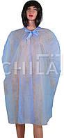 Накидка одноразовая для посетителя, на завязках, синяя (длинна 110 см)