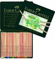 Пастельные цветные карандаши Faber Castell PITT 112111 в металлической коробке, 24 цв.