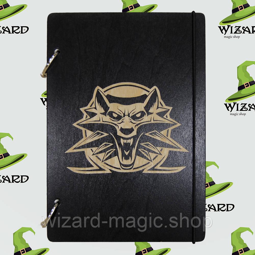 Скетчбук с деревянной обложкой А5 черный лак Ведьмак