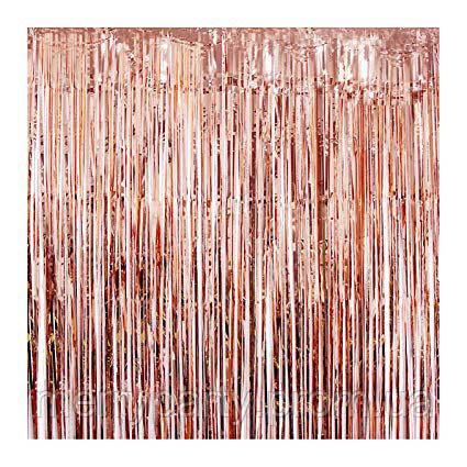 3х1 м Гирлянда дождик розовое золото (шторка - занавес)