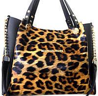 5b4c5dbf56a2 Женская леопардовая сумка Michael Kors с ремешком на цепочке 32*25 см