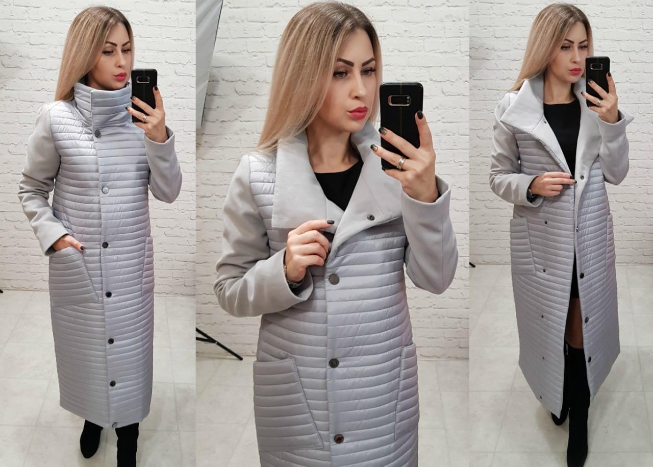Пальто кашемировое+плащевка, модель 138, цвет - серый