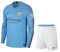 Футбольная форма Манчестер Сити с длинным рукавом (домашняя), сезон 2018-2019