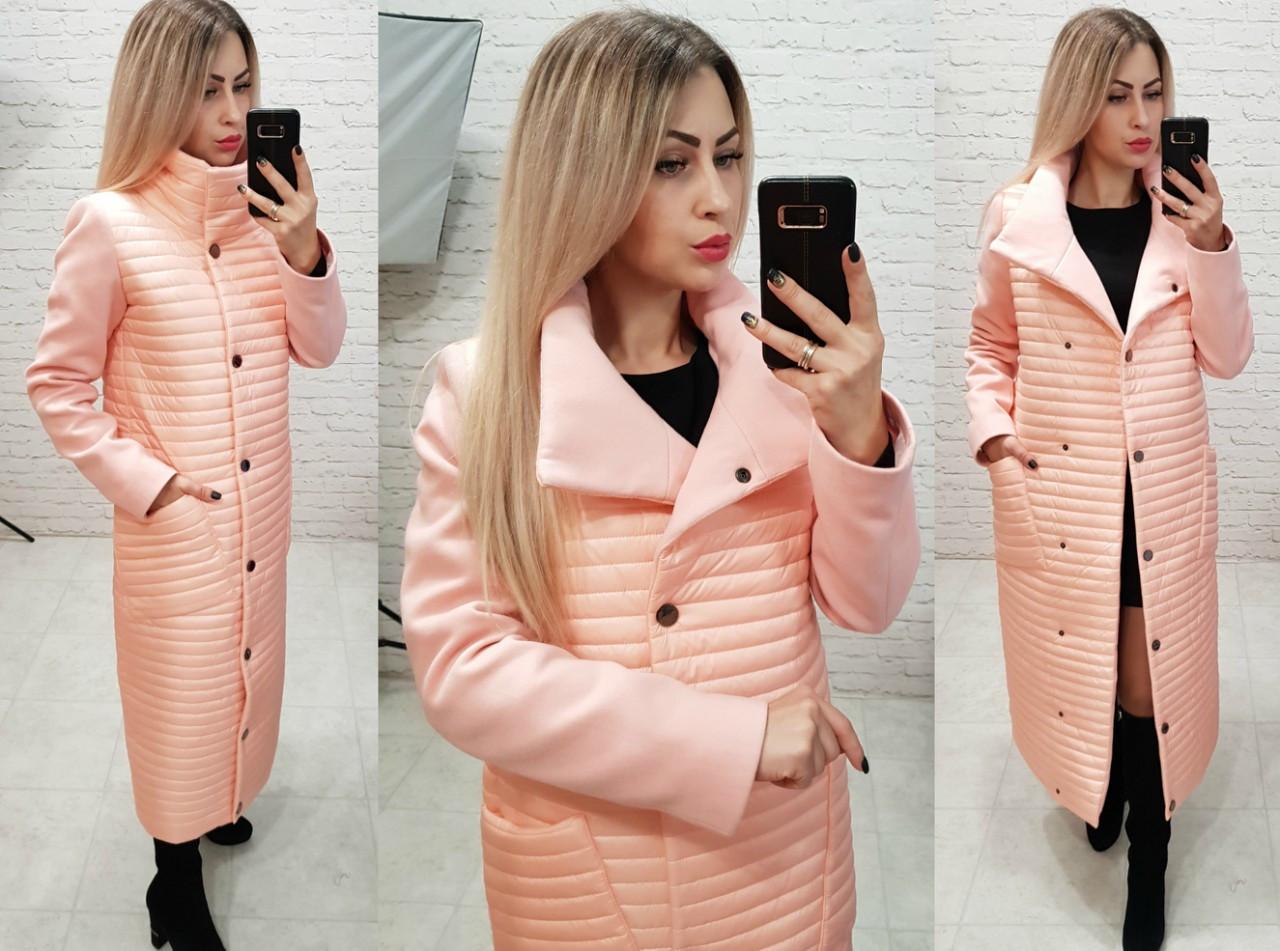 Пальто кашемировое+плащевка, модель 138, цвет - персик