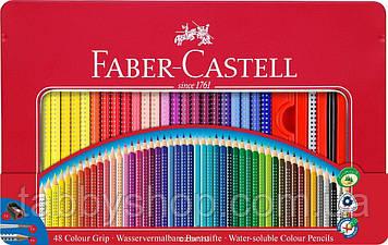 Акварельні тригранні олівці Faber Castell ART GRIP 112448 в металевій коробці + аксесуари (48 кол.)
