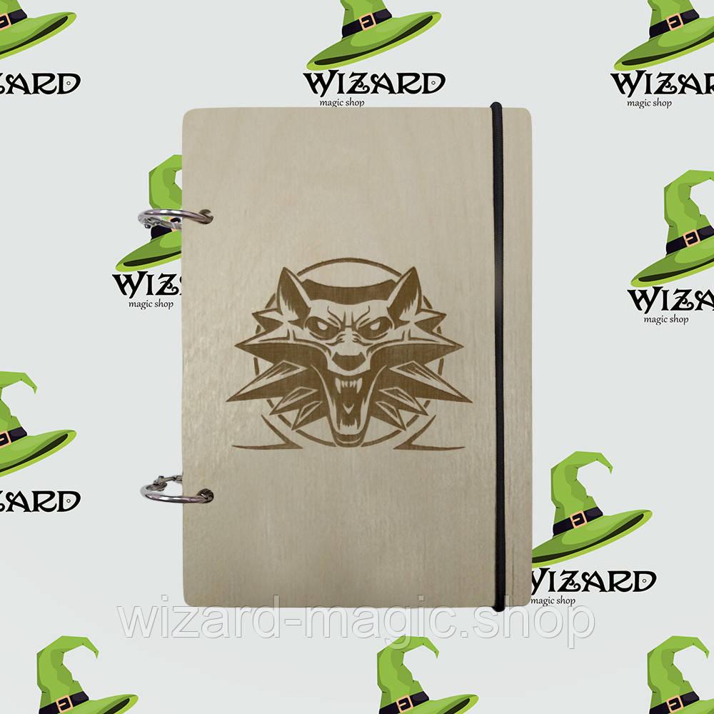 Скетчбук с деревянной обложкой А6 не лак Ведьмак