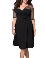 Черное Вечернее Расклешенное Миди Платье Большого размера для полных Размер+ RP-60671