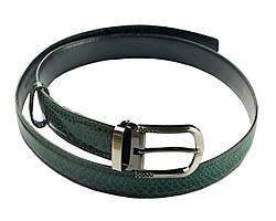 Ремень Ekzotic Leather из натуральной кожи морской змеи Темно - зеленый (snb 15_4)