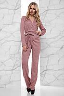 Комфортный Женственный Комбинезон на Запах Ангора Меланж Розовый S-XL, фото 1