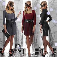 Облегающее короткое платье со съемной прозрачной юбкой и декольте, фото 1