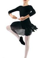 Купальник для танцев с юбкой-сеткой  Dance&Sport 6034 черный, хлопок