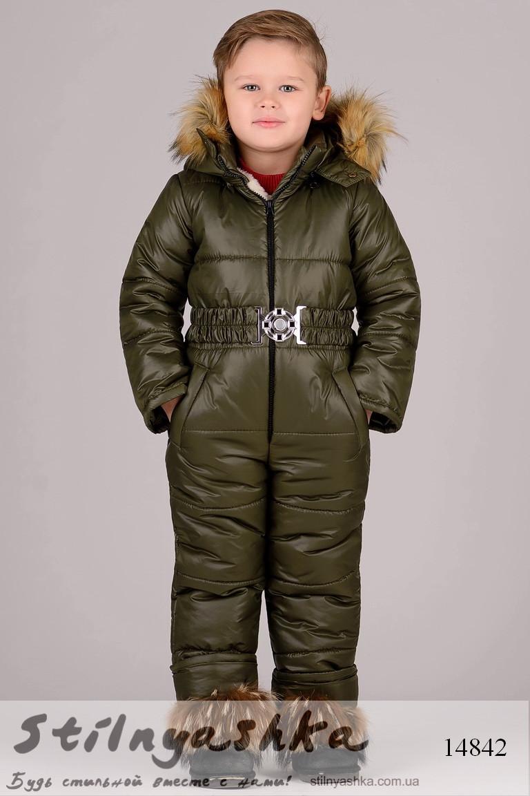 Зимний комбинезон для ребенка хаки, фото 1