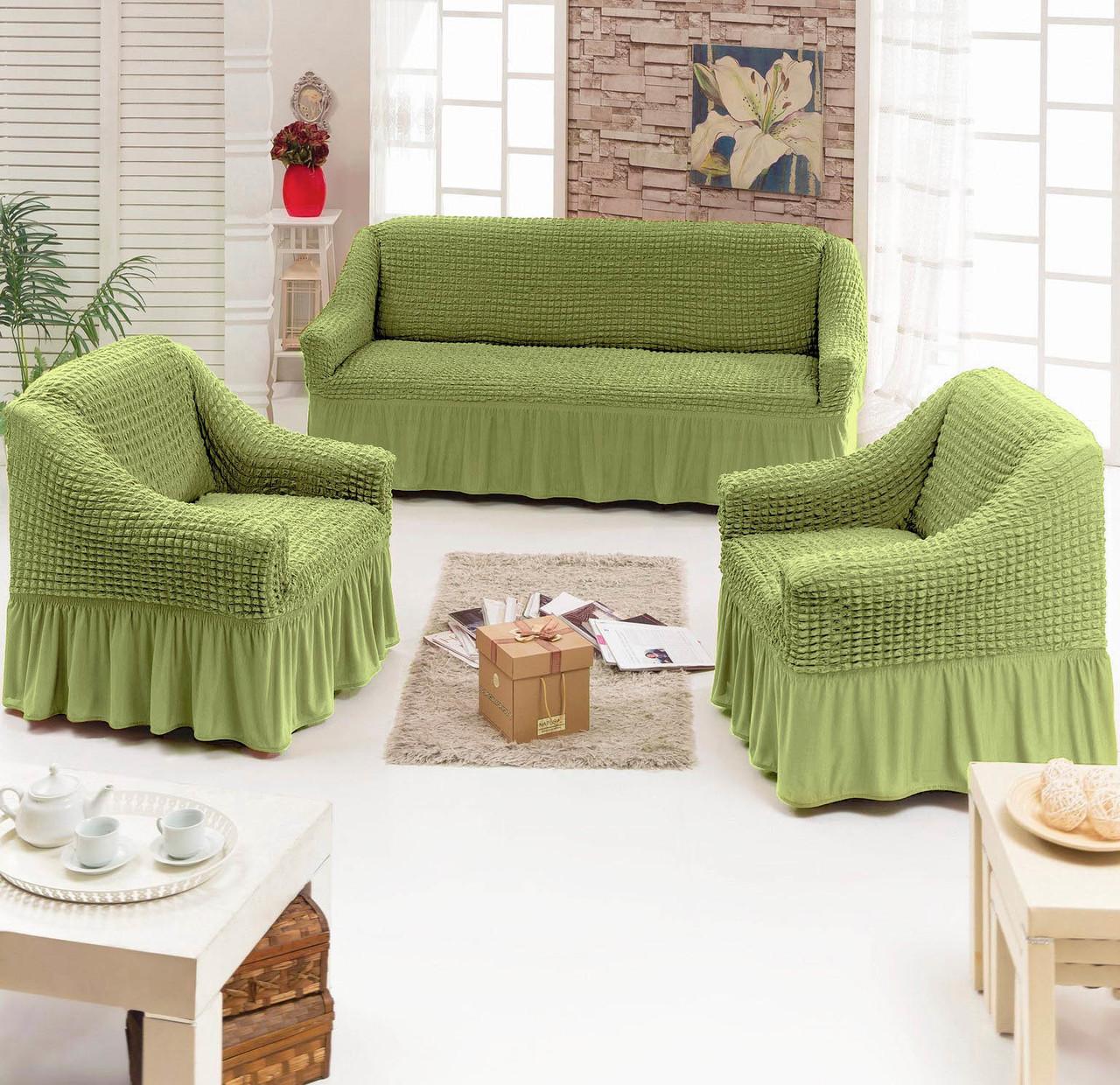 Натяжные чехлы на диван и 2 кресла, Турция, с оборкой (Большая палитра цветов)