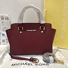 Сумка Майкл Корс Michael Kors Selma 28 см, натуральная кожа, цвет марсала