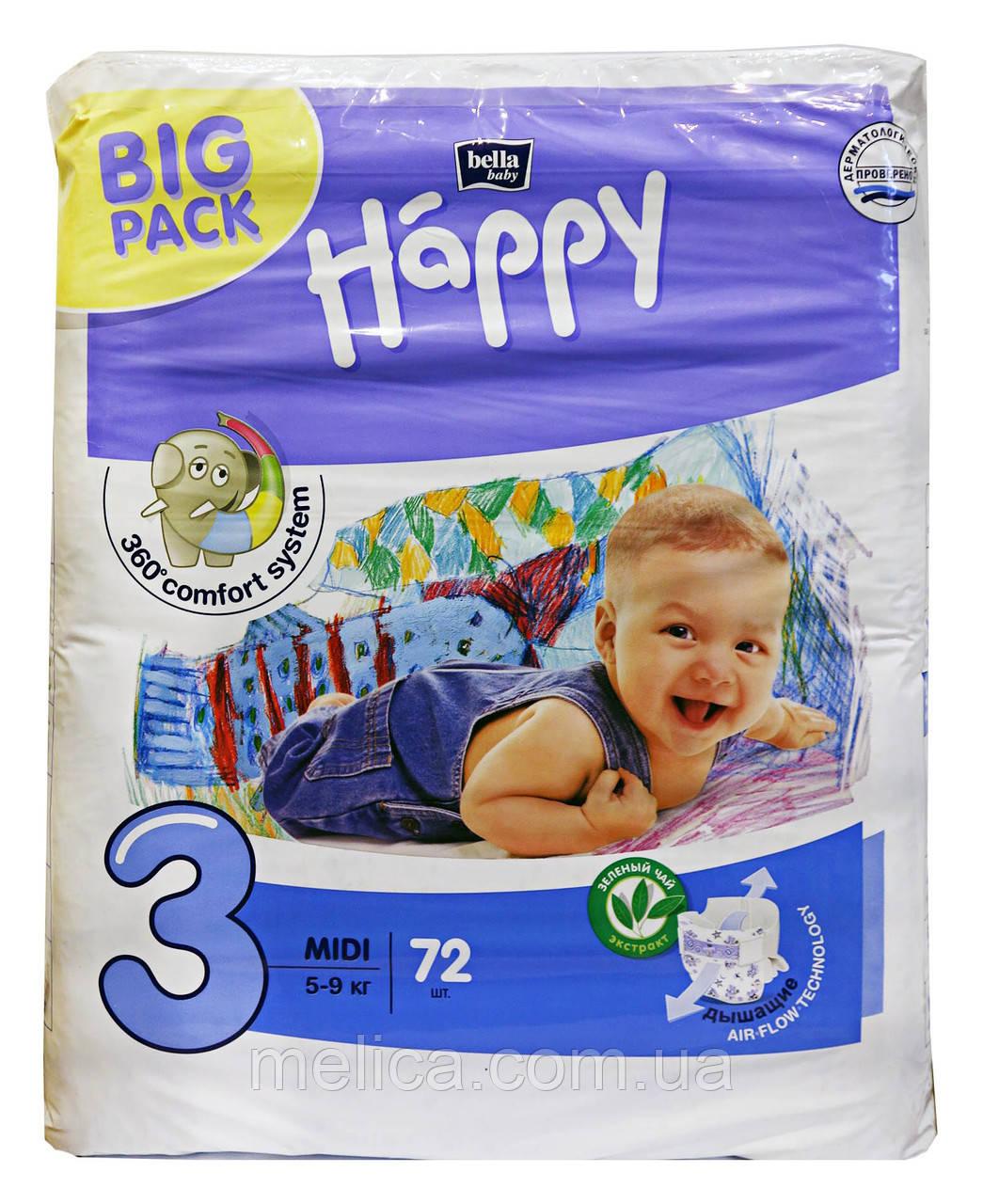 Подгузники Bella Happy Midi 3 (5-9 кг) 72 шт., цена 353,47 грн ... 9822f19159f