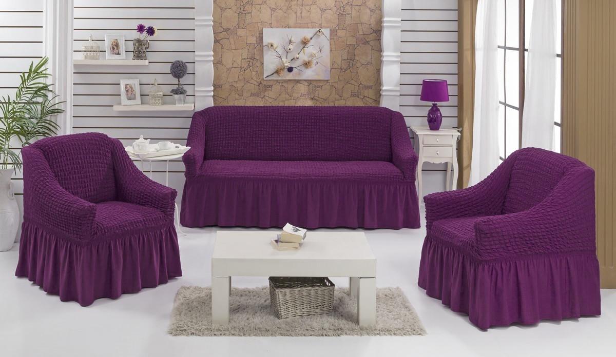 Натяжні чохли на диван і 2 крісла, Туреччина, з оборкою (Велика палітра кольорів)