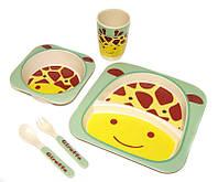 Набор детской бамбуковой посуды Eco Bamboo fibre kids set 5 предметов N02328 зеленый, фото 1