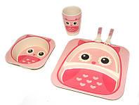 Набор детской бамбуковой посуды Eco Bamboo fibre kids set 5 предметов N02328 розовый, фото 1