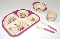 Набор детской бамбуковой посуды Eco Bamboo fibre kids set 5 предметов N02331 фиолетовый, фото 1